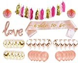 Rose Gold Pink Bachelorette Party Decorations Kit- 35 Count Bridal Shower Decorations and Bachelorette Party Supplies: Bride to Be Sash, Love Letter Balloon, Rose Gold & Gold Confetti Balloons,