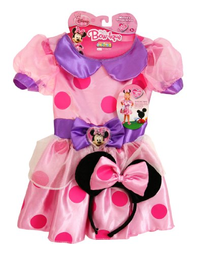 Minnie's Dream Dress, Pink with pink polka dots and purple bow (2T-4T)