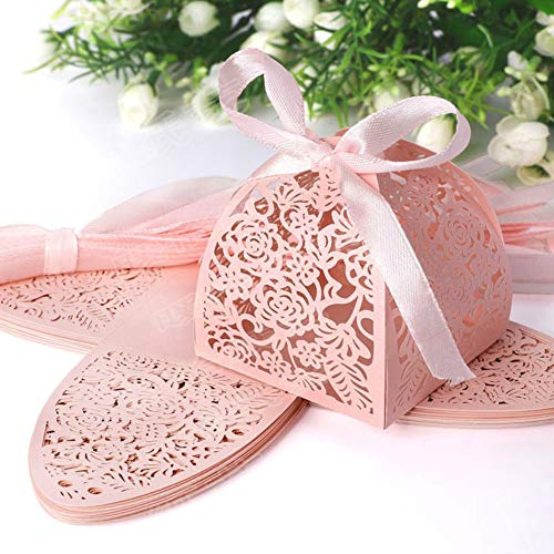 bromrefulgenc Candy Boxes Bags,50Pcs/Set Hollow Rose Flower Lace Ribbon Wedding Favor Sweets Candy Boxes Wedding Chocolate Candy and Gift Favor Boxes Pink (Ribbon Cut Outs)