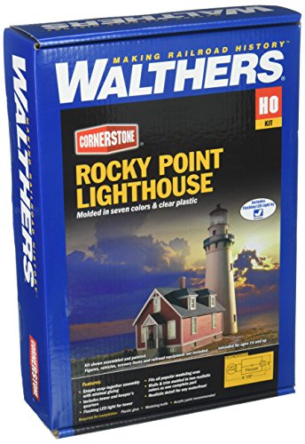 Walthers, Inc. Rocky Point Lighthouse Kit, 3 x 8-1/8 X 8-7/8