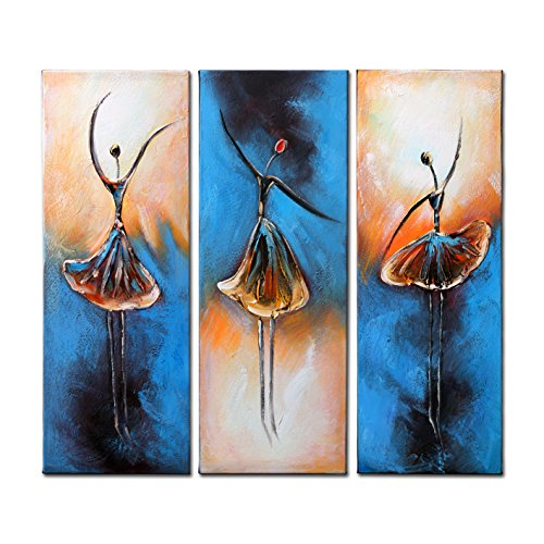 VASTING ART 3-Panel 100% Hand-Painted Oil Paintings Elegant Ballet Dancing Girls Modern Abstract Handmade Contemporary Artwork Stretched Framed Ready Hang Canvas Home Decoration Wall Decor Yellow Blue