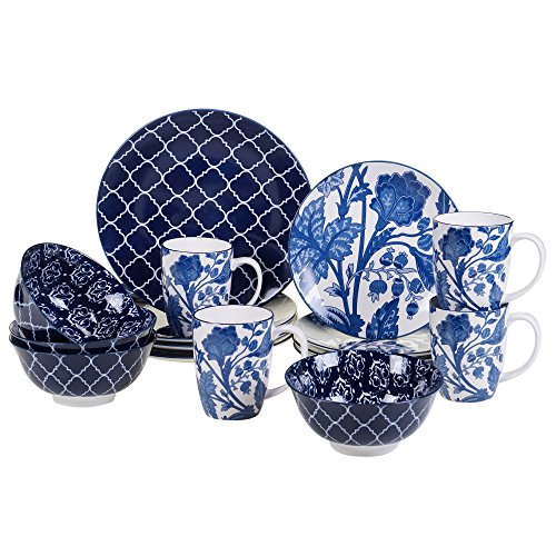 Certified International 89254 Blue Indigo 16 pc. Dinnerware Set, Service for 4, Multicolored ()