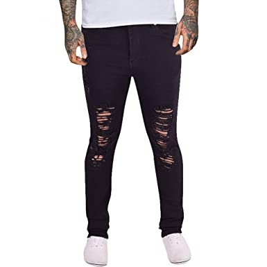 e777c521ebe Island Trading Mens Skinny Jeans Rips Frayed Knee Ripped Distressed Stretch  Denim Black White  Amazon.co.uk  Clothing
