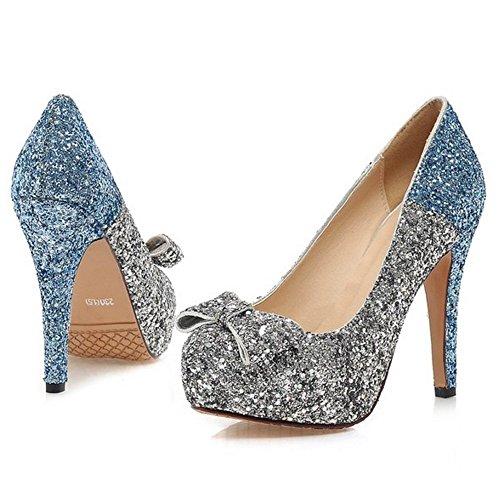 COOLCEPT Mujer Moda Sin Cordones Tacon de Aguja Bombas Zapatos Shiny Glitter Cerrado Boda Zapatos With Bowknot Azul