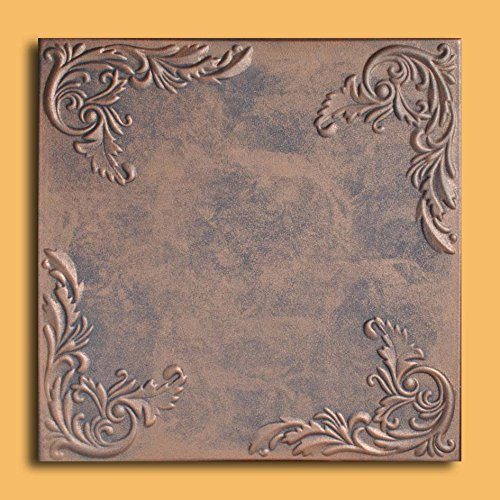 Antique Ceilings Inc - Marseille Copper Graphite - Styrofoam Ceiling Tile (Package of 10 Tiles)