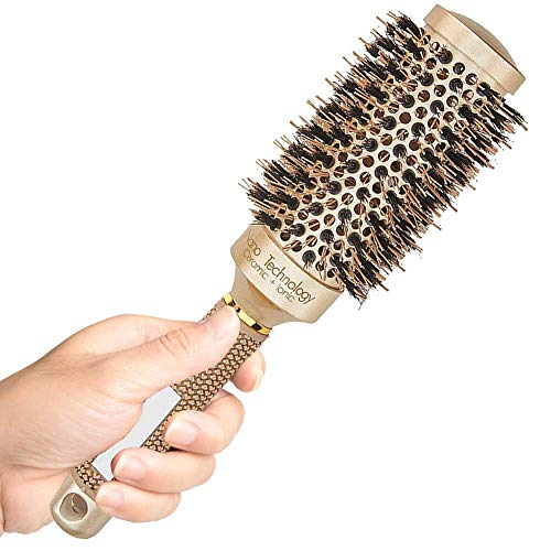 Round Brush for Blow Drying, Round Hair Brush, Nano Technology Thermal Ceramic Barrel Ionic Anti-Static Blowout Hairbrush with Boar Bristle, for Hair Styling, Curling Straightening, Volume & Shine ()