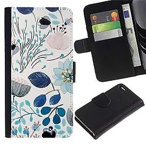 iKiki Tech / Cartera Funda Carcasa - Spring Teal Blue Floral Pattern Flowers - Apple iPhone 4 / 4S