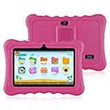Ainol Q88 7' Display Kids Tablet Android 7.1 RK3126C Quad Core, 1GB+16GB, 0.3MP+0.3MP Cam, WIFI, Light Weight Portable Kid-Proof Shock-Proof Silicone Case, Kickstand Available With iWawa For Kids Education Entertainment (Pink)