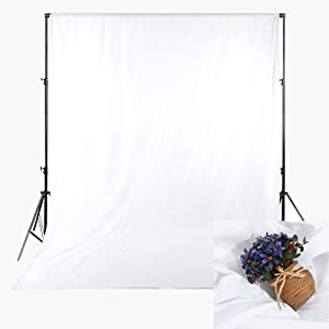 FHZON Background with Pocket 5x7ft Solid Color White Screen Photo Polyester Fabric Backdrop Photography Baby Adult Family Party Booth Portraits Photo Video Shooting Props Machine Washable YFH002