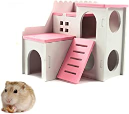 Kathson Wooden Hamster House Hideout Hut Rat Hideaway Exercise Toys for for Small Animals like Dwarf Hamster and Mouse