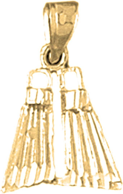 14K Yellow Gold-plated 925 Silver Scuba Finns Pendant Jewels Obsession Silver Scuba Finns Pendant