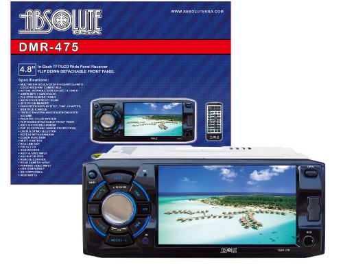 Absolute USA DMR-475 4.8-Inch DVD/MP3/CD Multimedia Player Widescreen Receiver with USB, SD Card and Detachable Front Panel ()