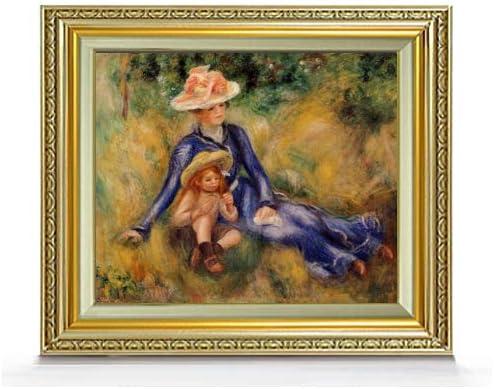 ルノワール イボンヌとジェーン F8 油絵直筆仕上げ| 絵画 8号 複製画 ゴールド額縁 598×524mm
