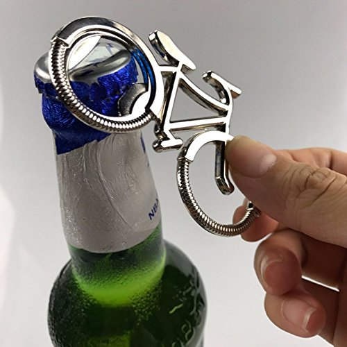 1 Pack Metal Bike Biker Bicycle Cycling Lover Bottle Opener Keychain Key Ring Chains Wrist Holder Strap Top level Popular Beer Openers Corkscrew Catcher Knife Vintage Utility Pocket Accessories Eagle End Cap
