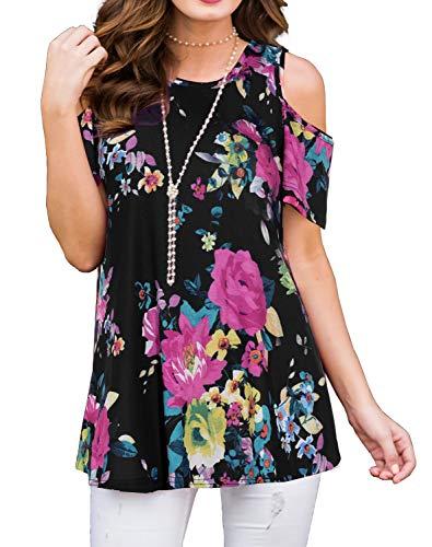 Cold Shoulder Short - PrinStory Women's Short Sleeve Casual Cold Shoulder Tunic Tops Loose Blouse Shirts Floral Print Purple Flower Black 2XL