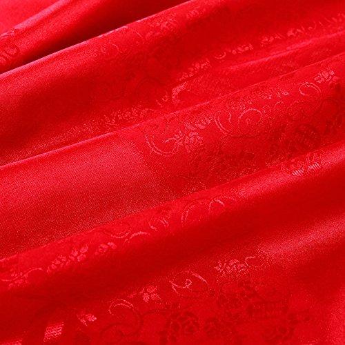 DHWM-Wedding embroidery 4 piece set, bedding red cotton 4 piece set, marriage is set multi piece ,2.0m