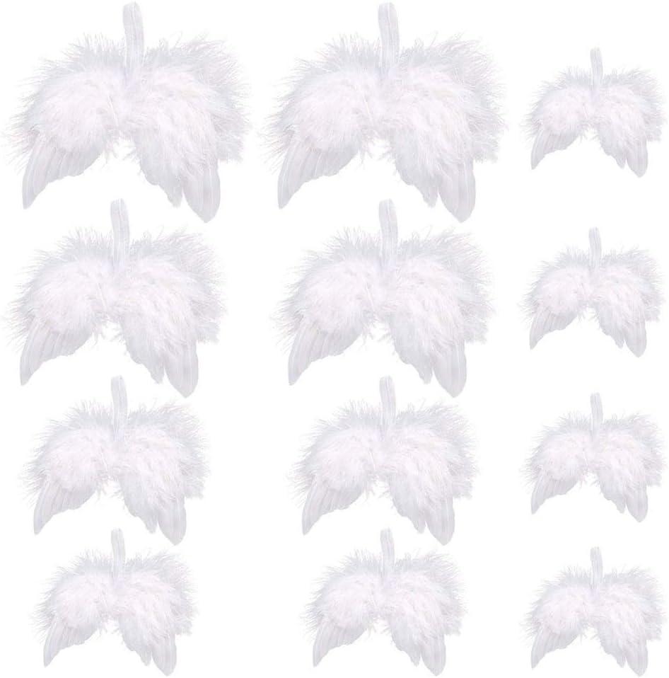 Nsiwem Ailes en Plumes d/'Ange 12 pi/èces Mini Ailes dange en Plumes Blanches Deco Sapin Noel D/écoratif Ange pour d/écoration de Sapin de No/ël /à Suspendre