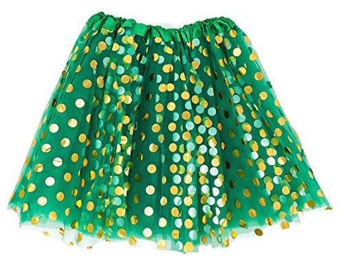 Rush Dance Teen Adult Classic Ballerina 3 Layers Polka Dots Tulle Tutu Skirt (Teen/Adult, Kelly Green With Gold Dots)