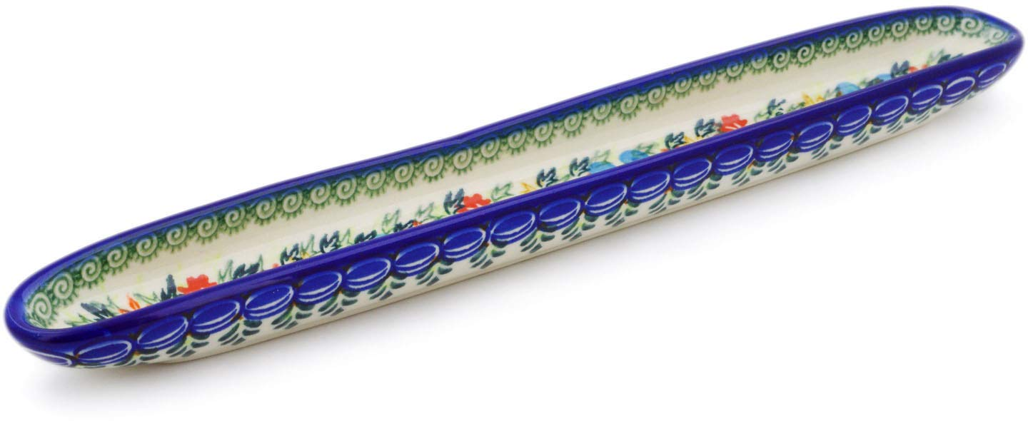 Polish Pottery 13-inch Olive Dish (Ring Of Flowers Theme) Signature UNIKAT + Certificate of Authenticity