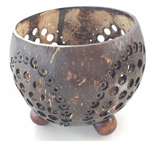 """Handcraft Coconut Shell Tea Light Votive Candle Holders 3"""" High ideal for Weddings, Parties, Events, Spas, Gifts"""