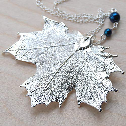 Enchanted Leaves - Large Fallen Silver Maple Leaf Necklace - Sterling Silver Plated REAL Sugar Maple Leaf