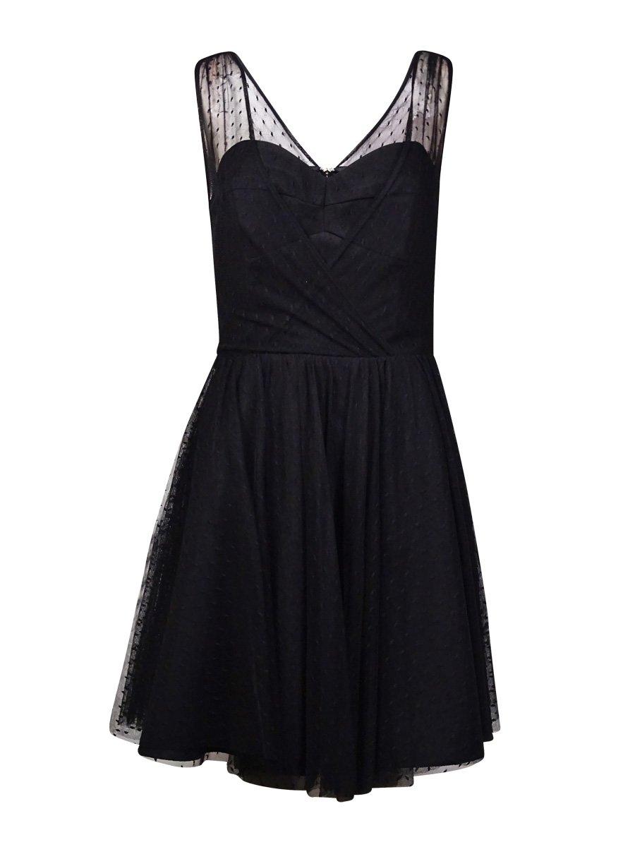 Betsy & Adam Women's Sheath Dobby Textured Mesh Dress Black 8