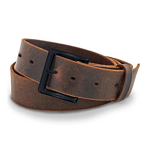 Hanks Jean Belt - Solid One Piece Leather - 100 Year Warranty - Black Buckle - 36