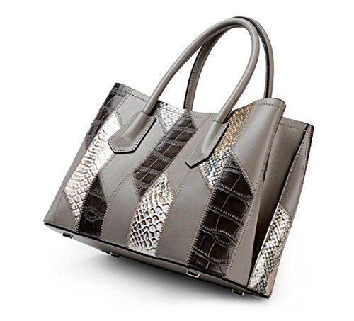 Shoulder Hand Totes Ladies Handbags Crocodile Package Bag Bags body Diagonal Grey Pattern Cross Leather fwAqR
