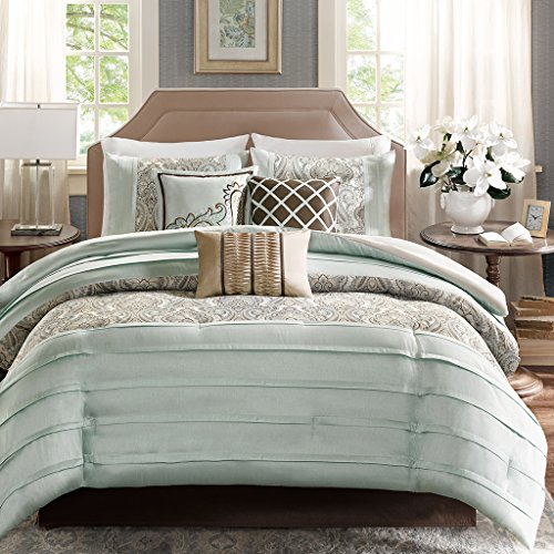 Madison Park Bryant Queen Size Bed Comforter Set Bed in A Bag - Aqua, Jacquard Paisley Demask – 7 Pieces Bedding Sets – Faux Silk Bedroom (Jacquard Queen 7 Piece Comforter)