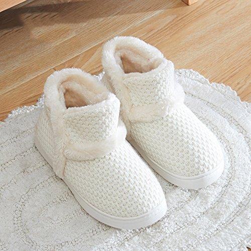 Cómodo Zapatillas de invierno para mujer Todas envueltas en pantundalón de algodón. Parte inferior gruesa de las zapatillas interiores antideslizantes (3 colores opcionales) (tamaño opcional) Aumentad A