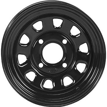 ITP Delta Steel Wheel - 12x7 - 4+3 Offset - 4/156 - Black , Bolt Pattern: 4/156, Rim Offset: 4+3, Wheel Rim Size: 12x7, Color: Black, Position: Front/Rear D12T556