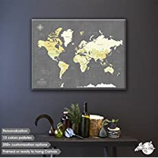Amazon pin adventure map handmade canvas push pin travel map personalized world map with pins fine art quality gumiabroncs Image collections