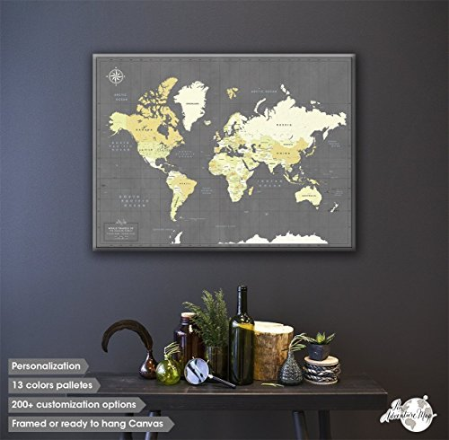 Canvas Push Pin Travel Map, Push Pin Map Canvas, Custom World Push Pin Map for Family, Gift for Couple, Push Pin Maps of the World with Personalization - Time Delivery International Mail