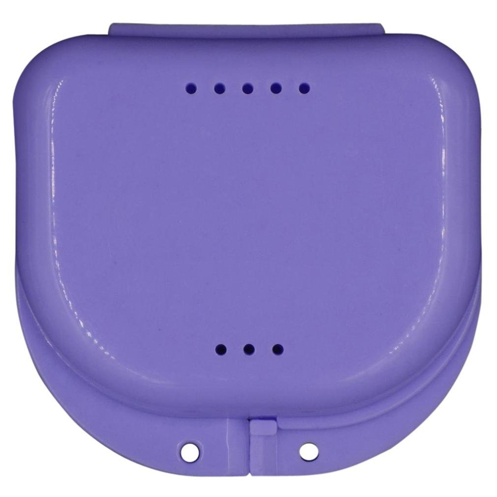 LiPing Denture Bath Box , Denture Case with Lid, Dentures Box, Dental Retainer Container, Denture Bath Cleaning Soaking Cup, Mouth Guard Night Gum Shield Travel Storage Case (Purple)