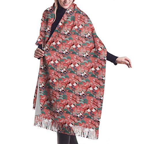 Gueth_japanese_garden_frances Women Scarf Soft Cashmere-Like Scarves Warm Blanket Solid Winter Shawl Elegant Wrap