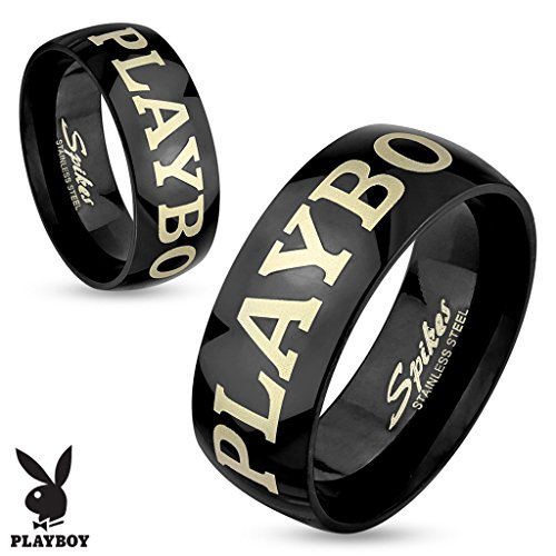 Black Laser Etched Steel Ring (Playboy Laser Etched Black IP Stainless Steel Black Couples Ring - His and Hers (9))