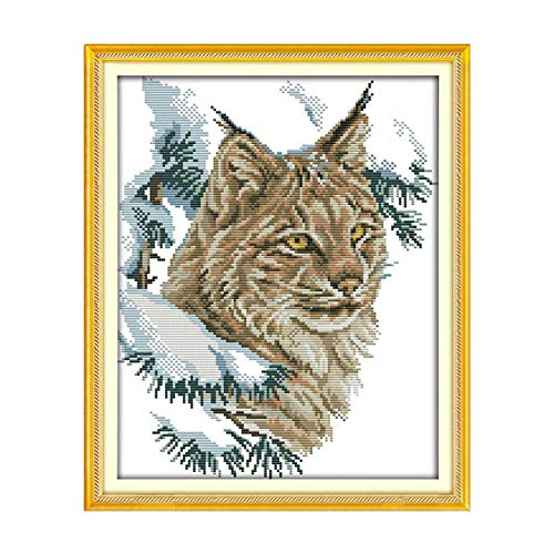 (Wildcat Animals Painting Counted Printed On The Canvas 11CT 14CT DIY Kit Cross Stitch Embroidery Needlework Sets Home Decor,11ct Print Canvas)