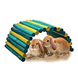 B&P Color Fiddle Sticks Hideout- 21.7x11.02x0.98'' Large Folding Wood Fence Ladder Bridge for Rabbits,Ferrets, Guinea pigs, Chinchilla and other Small Pet Cage Accessories (Blue/Green+Yellow, XXL)