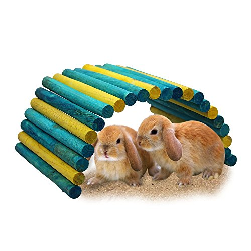 B&P Color Fiddle Sticks Hideout- 21.7x11.02x0.98'' Large Folding Wood Fence Ladder Bridge for Rabbits,Ferrets, Guinea pigs, Chinchilla and other Small Pet Cage Accessories (Blue/Green+Yellow, XXL) by Beaks And Paws