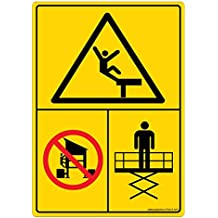 Safety Sign Store DS412-A6PC-01 Warning: Fall Hazard - Graphic, Material: 3M Self Adhesive + Lexan - 0.25 mm Pack Of 1 105 L X 148 W