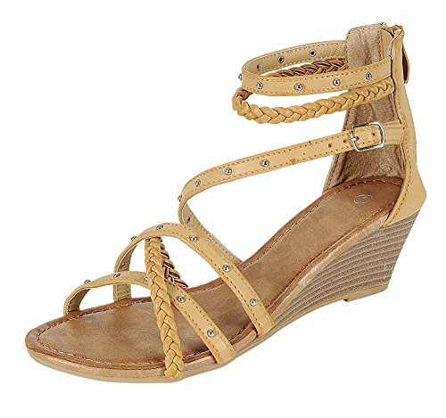 Braided Strappy Sandal (Cambridge Select Women's Open Toe Crisscross Braided Studded Buckle Ankle Strappy Wedge Sandal (8.5 B(M) US, Taupe))