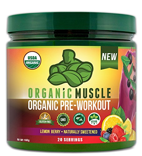 USDA Certified Organic Pre Workout Supplement - Natural Pre Workout & Organic Energy Drink- Non-GMO, Vegan, Gluten Free -Lemon Berry- 160g