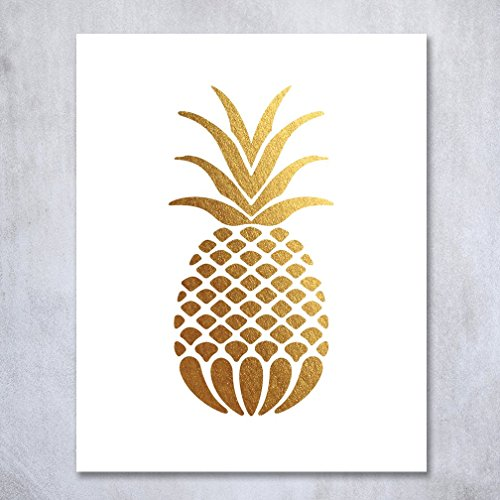 Pineapple gold foil art print small poster tropical chic metallic poster modern wall art gold decor 5 inches x 7 inches b18 buy online in uae