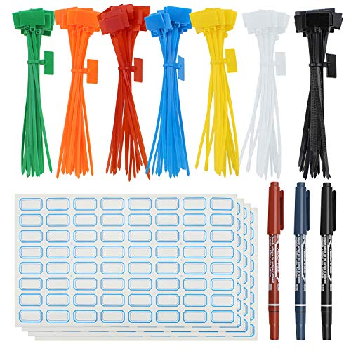 SelfTek 140Pieces Zip Ties Colorful Marker Ties Self-locking Cable Ties with 256Pcs Cable Labels and 3Pcs Marker Pen