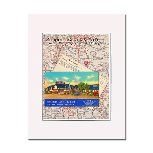 Cafe Postcard (Sanders Court & Cafe Corbin KY You Are Here homage to the birthplace of KFC original art print from rescued retro postcard Enhance the home or office Gallery quality Matted and ready-to-frame)
