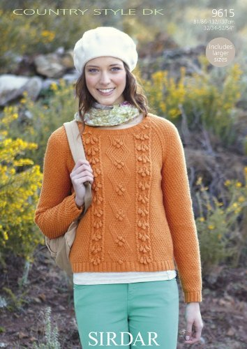 Cable Bobble Detail Jumper in Sirdar Country Style DK - 9615