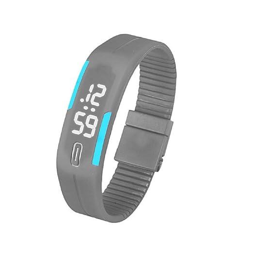 Hot Sal.firally Reloj de Pulsera Digital de Pulsera Deportivo con Fecha de Goma para Hombre y Mujeres wristwatches Relojes de Pulsera Relojes de Mujer Gris: ...