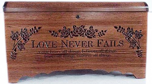 Allamishfurniture Amish Hope Chest Oak Blanket Storage Carved Love Never - Oak Carved Blanket