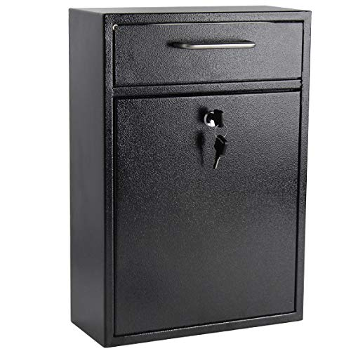 Display4top Wall Mounted Locking Drop Box Mailbox-Inter Office Mailbox-Letter Box,Ideal for Residential Deliveries, Schools, Office, Home, Mail Centers and More.(Black) (Large)