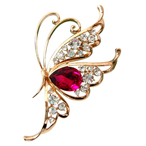 - Navachi 18k Gold Plated Red Cubic Zicon Austrian Crystal Butterfly Az7915r Brooch Pin